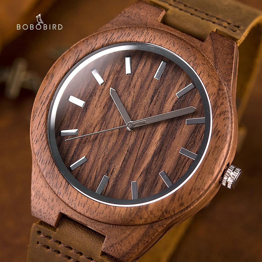 Часы наручные BOBO BIRD с ореховым деревом для мужчин и женщин, кварцевые наручные, с гравировкой, для юбилея, подарок на годовщину