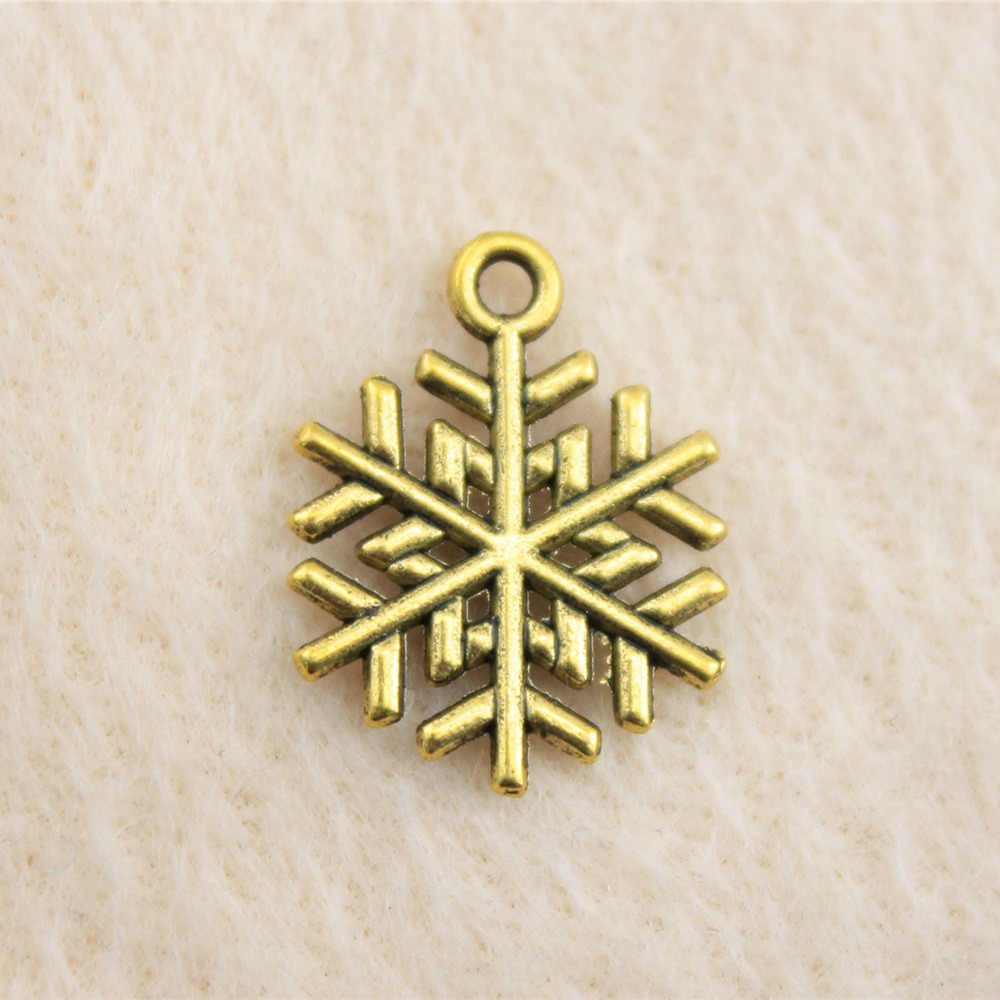 Retail Display 1 Stuk 18X15 Mm Snow Flake Charms Charm Verzilverd Man Sieraden Accessoires