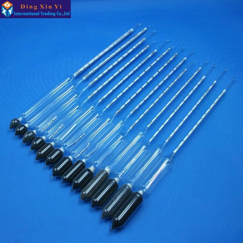 2PCS/lot glass Densitometers chemical laboratory glass liquid hydrometer densimeter Density Meter 1.0-0.1kg/m3, 1.1-1.2kg/m3