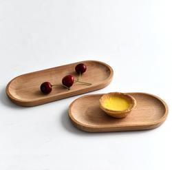 Natural Living Solid Oval Beech Wood Tray Dish Cheese Sushi Snack Fruit Buffet Plates Children Tableware Decorative Side Plate