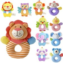Baby Rattles Plush Toy Cradle Infant-Toys Hand-Bell Gift Animals Monkey Owl-Fish 0-3-Years