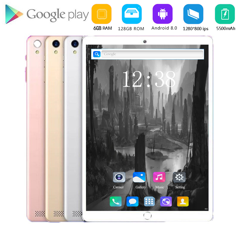 2020 New 10.1 Inch Tablet PC Octa Core 6GB RAM 64GB 128GB ROM Android 8.0 WiFi Bluetooth GPS Phone Call 3G 4G FDD LTE Tablet