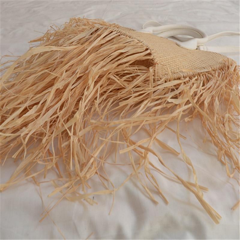 2020Vintage Women Lady Long Tassels Natural Raffia Straw Bag for Beach Resort Dress Holiday Designer Handbag Famous Brand Clutch