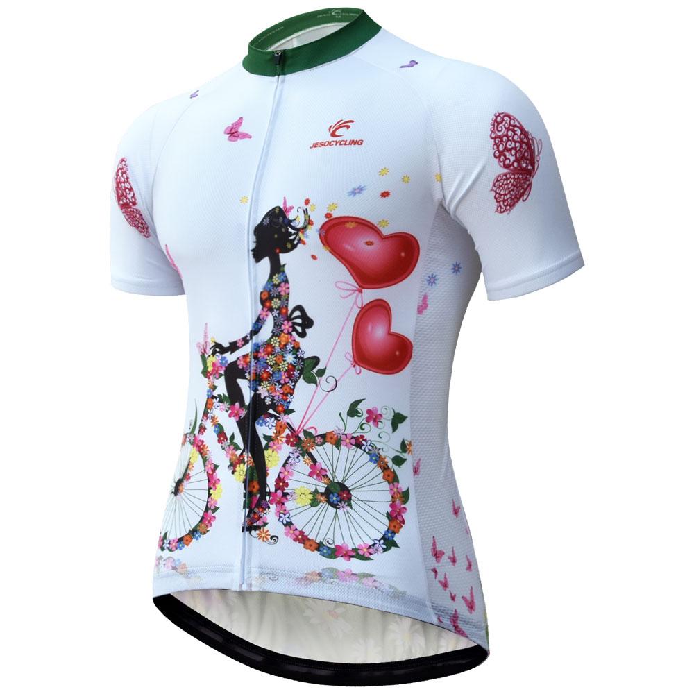 2020 ველოსიპედით Jersey ქალები სწრაფად მშრალი სუნთქვის MTB Bike Jersey პერანგი Maillot Ciclismo მოკლე ყდის Pro გუნდი Cycling ტანსაცმელი