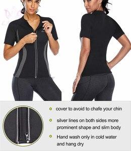 Image 5 - LANFEI Camiseta de neopreno moldeadora de cuerpo para mujer, Top deportivo para perder peso, entrenador de cintura, camisetas deportivas adelgazantes