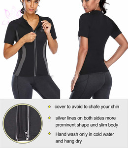 Image 5 - LANFEI Hot Neoprene Sweat Body Shaper Running T shirt Womens Fitness Weight Loss Top Workout Waist Trainer Slimming Sport Shirts