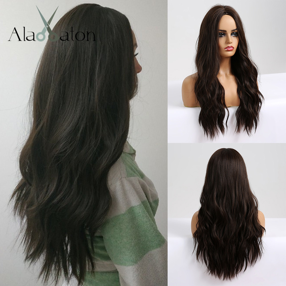 ALAN EATON Long Wavy Black Brown Wigs Cosplay Costume Party Wig For Black Women Afro High Temperature Fiber Synthetic Hair Wigs