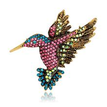 Retro Style Brooch Pin Retro Colorful Rhinestone Flying Bird Brooch Pin Women Shirt Jewelry Decor Shiny Brooch Ornament For Hats цена 2017