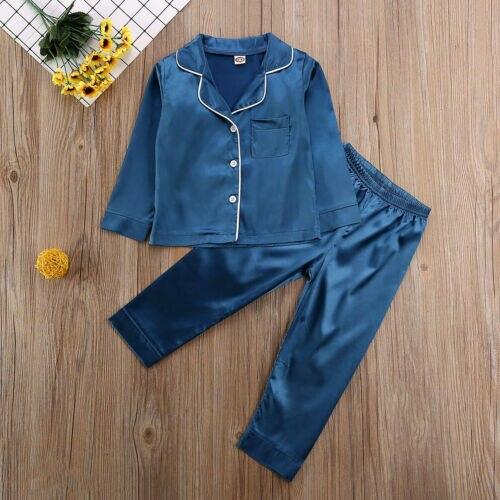 Childrens Kids Pyjamas Silk Satin Tops Pant Autumn Winter Long Sleeve Sleepwear Nightwear Girl Boy Pajama Sets 6