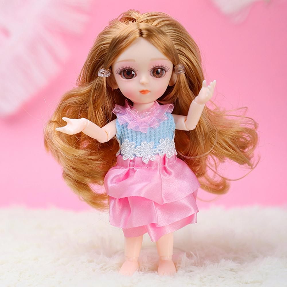 Newest Silica Gel BJD Miniature Baby Doll 16CM 11 Movable Jointe Dolls Baby Body Dress Up  Makeup 3D Glass Eyes For Girls Gifts