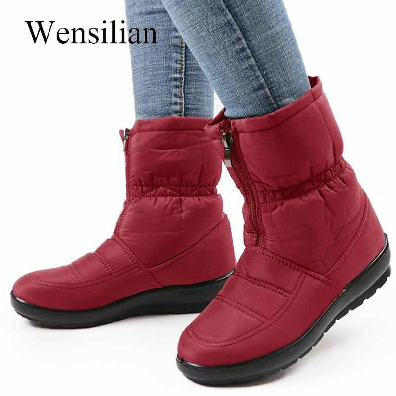Botas de Invierno para Mujer Botas de tobillo de piel cálida interior Botas de nieve impermeables zapatos de Mujer con cremallera de talla grande 2019