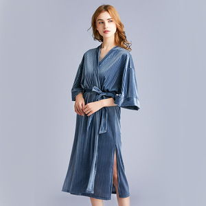 Image 2 - 2020 New Arrival Autumn Golden Velvet Womens Pajamas New  Spring Medium Length Sleepwear Bathrobes Sexy Robe Nightdress