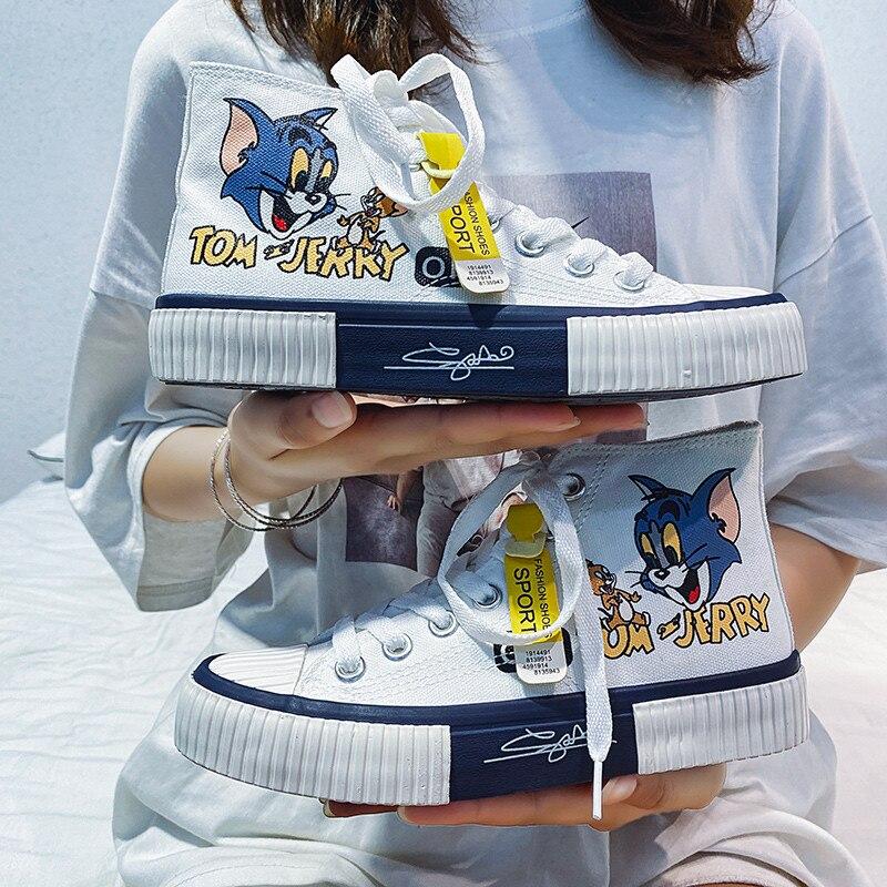 Fashion Cartoon Print Women Canvas Skateboard Shoes White High top Platform Canvas Sport Shoes Sneakers Women espadrilles mujer