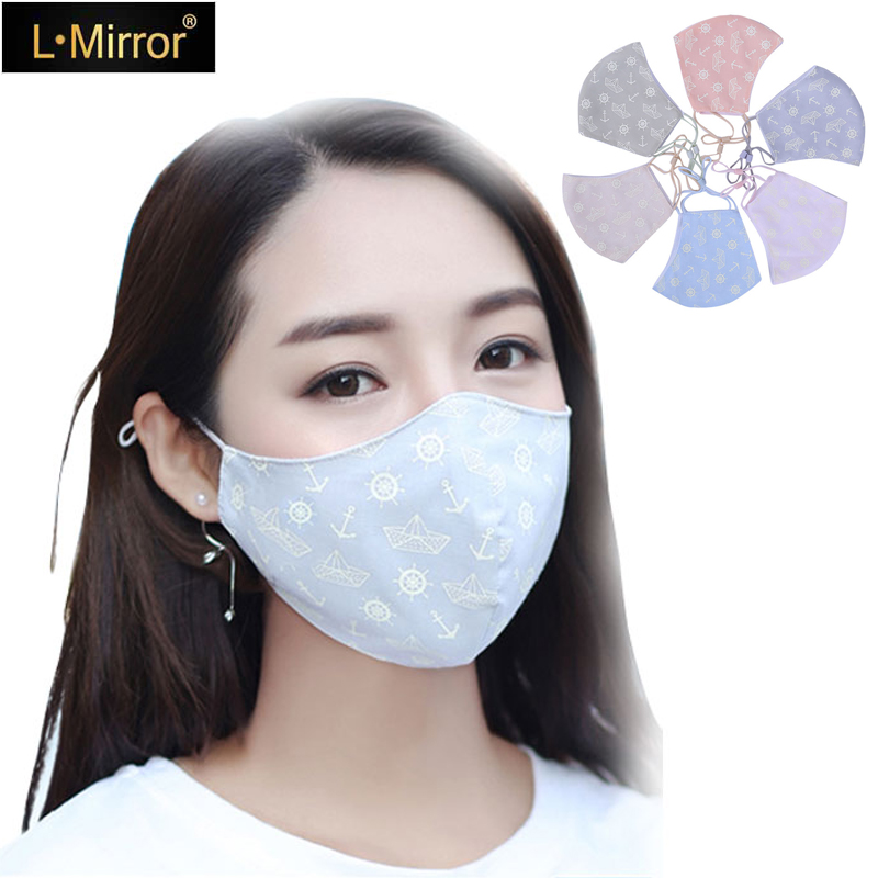 L.Mirror 1Pcs Cotton Boys Girls Mouth Face Mask Muffle Face Mouth Masks Dustproof Antibacterial Washable  Reusable Comfy Masks