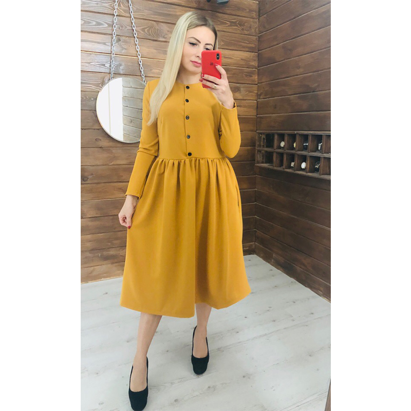 Women Autumn Winter Button Solid Straight Dress Office Lady O Neck Long Sleeve Dress 2019 Fashion Elegant Party Mid Length Dress