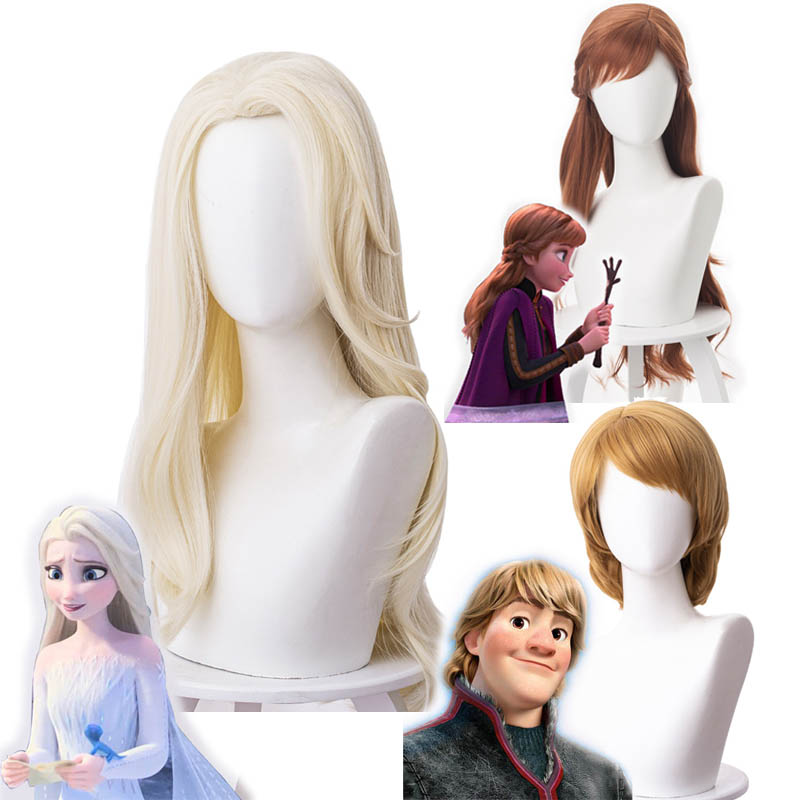 2019 filme congelado 2 perucas cosplay elsa anna kristoff perucas dos homens e das mulheres rainha da neve princesa cabelo peruca do dia das bruxas acessórios