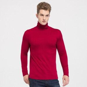 Осенне-зимний мужской пуловер из 90% шелка и кашемира, с высоким воротником, удобная теплая трикотажная тонкая рубашка с отворотом