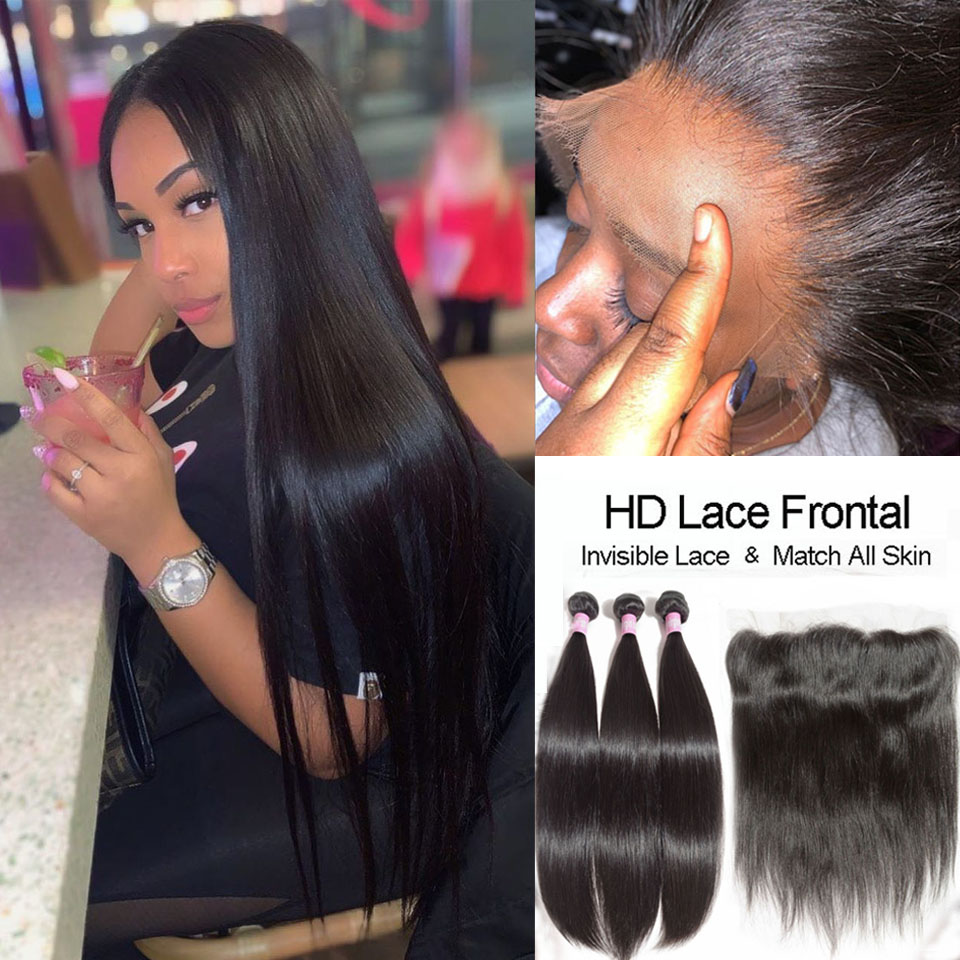 HD Lace Frontal Closure With Bundles Brazilian Hair Weave Bundles With Closures Straight Hair Bundles With HD Frontal Closure