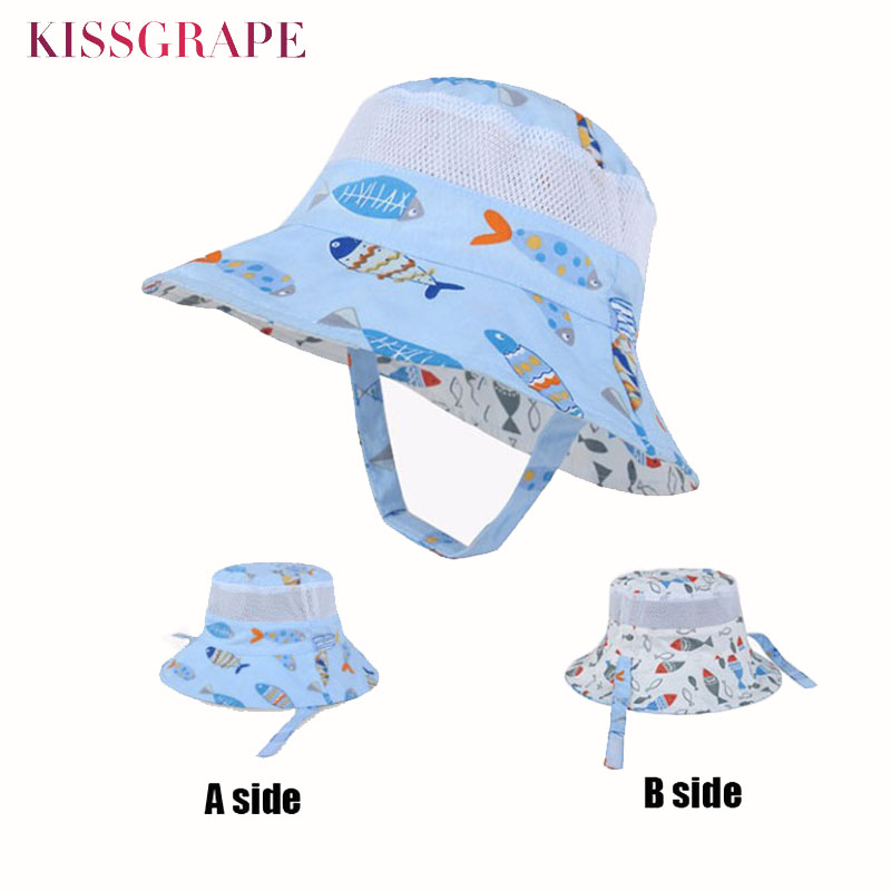 Boys Boy Soft Cotton White with Cars Tractors Summer Sun Hat with Chin Strap