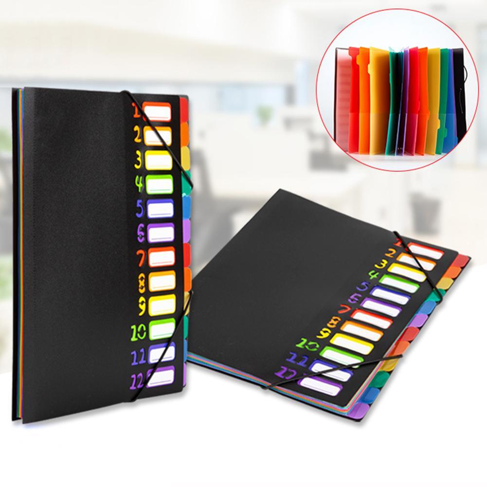 1Pc 12 Tape A4 File Folder Paper Organizer Document Storage Bag Protectors A4 Organizer Paper Holder Office School Supplies