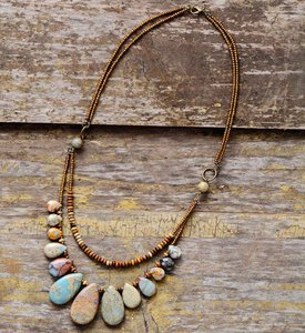 Chokers Necklaces for Women Teardrop Natural Stones Seed Beads Short Statement Necklace Luxury Beaded Jewelry Dropshipping(China)