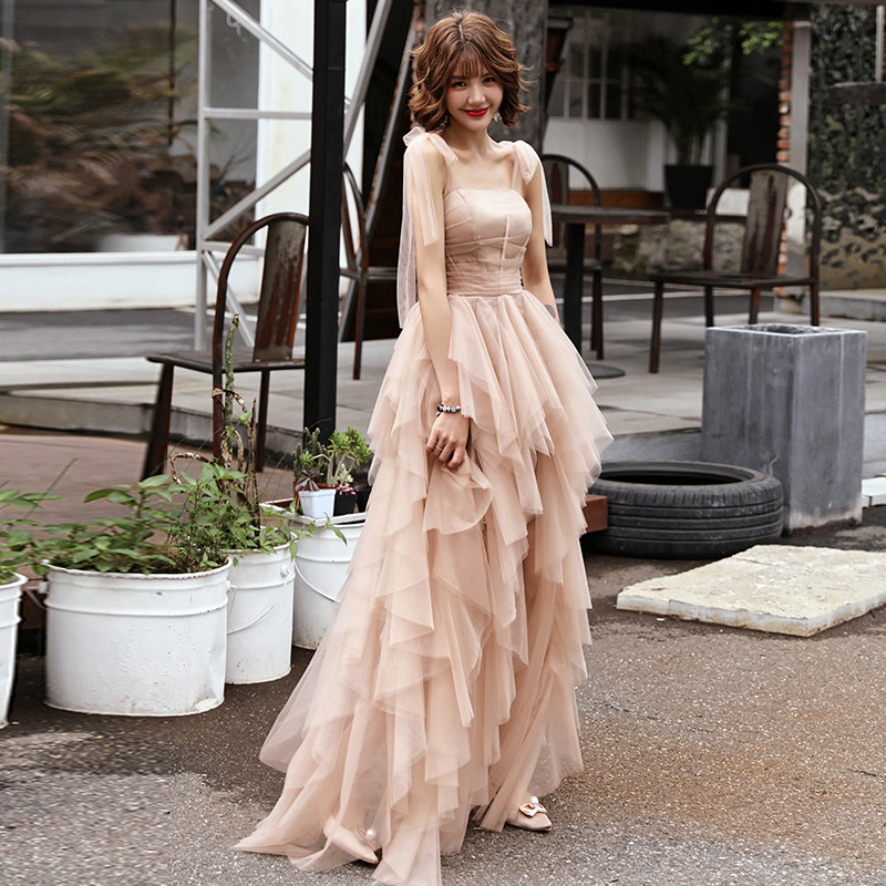 >Blush Pink Prom Dresses Long Tulle <font><b>Sweep</b></font> <font><b>Train</b></font> <font><b>Sleeveless</b></font> Evening Gown A-line Tiered Vestido De