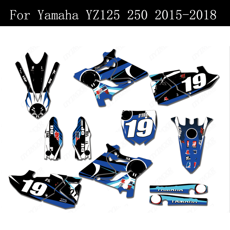 GRAPHICS DECALS STICKERS FULL KIT FOR YAMAHA YZ 125//250 2015-2019