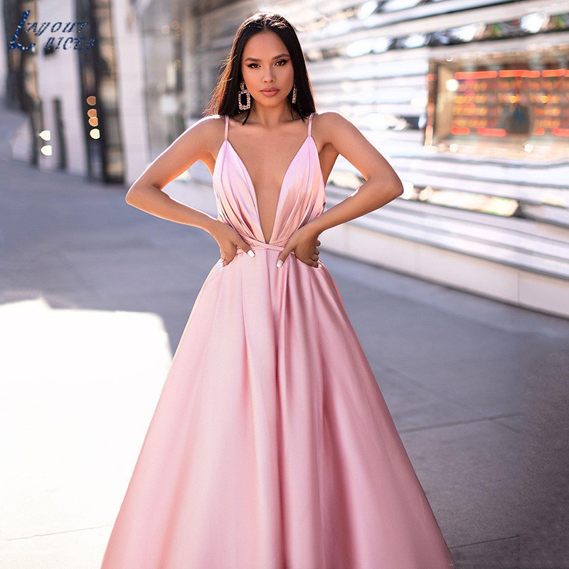 LAYOUT NICEB Pink Prom Dress Spaghetti Sexy Backless Deep V Neck Formal Party Gown vestidos de fiesta de noche Vintage Evening