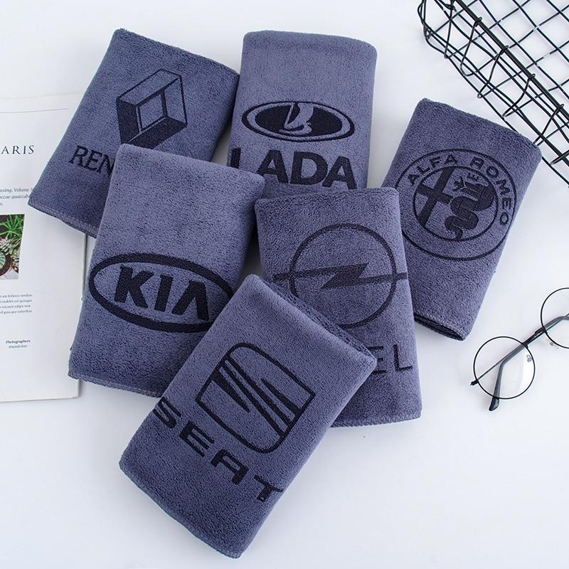 35*75CM Car Sticker Logo Emblem Wash Microfiber Towel Car Cleaning For Renault Opel Alfa Romeo Car Styling