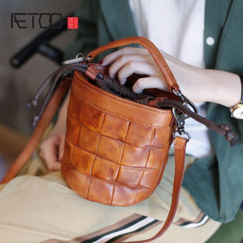AETOO New grande capacidade de ombro único saco preto de couro macio cinta larga ombro balde bolsa de couro verticais saco grande - 2