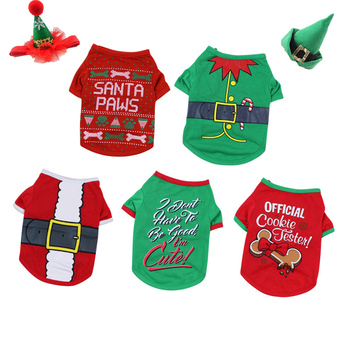 Pet Dog Clothes Pajamas Dog Vest Christmas Grooming Dogs Hat Waist Belt Cotton T-Shirt Festival Costume Small Medium Dogs Outfit image