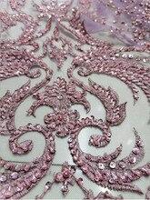 Le plus nouveau tissu nigérian de dentelle africaine de maille française perlée à la main de haute qualité approprié/dames robe de soirée de mariage 5ys
