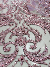 Newest High quality handmade beaded French mesh African lace Nigerian fabric suitable/ Ladies Evening dress Wedding 5ys