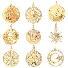 Sol DIY colgante encantos Luna mariposa joyería encantos de gran tamaño collar pulsera de colgantes pendientes 18k chapado en oro Pave CZ