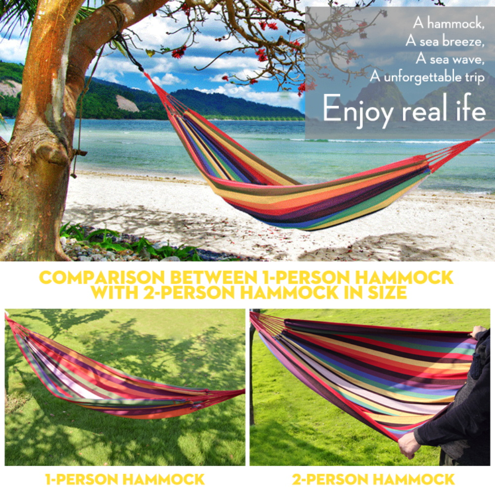 Double Hammock Outdoor Leisure Portable Camping Swing Chair Hanging Bed Garden Furniture with Backpack Rainbow Canvas