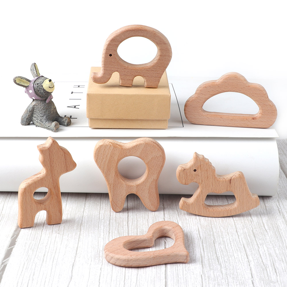 10PC Wooden Teether Baby Teething Toys Animal Rodent Beech Bracelet Pacifier Pendant For Newborn Teething Toys Baby Gifts