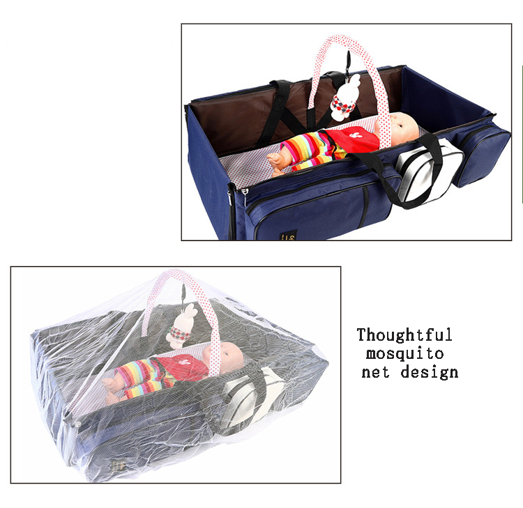 2 -In-1 Multifunctional Travel Mommy Bag /& Crib Baby Bed /& Baby Lounger Moses Basket Newborn Infant Travel Bed Carrycot for 0-12 Months Portable Crib Nappy Bag Large Capacity Storage Folding