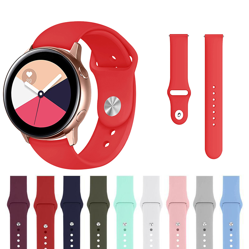 20mm 22mm Silicone Watchband For Samsung Galaxy Watch 42mm 46mm Active2  Gear S2 S3 Strap Band Bracelet Active 2 Watch Strap