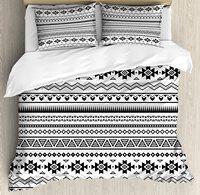 Tribal capa de edredão conjunto arte folclórica asteca fronteiras tribal américa do sul cultura 3 peça conjunto cama branco e preto|Capa de edredom|Casa e Jardim -