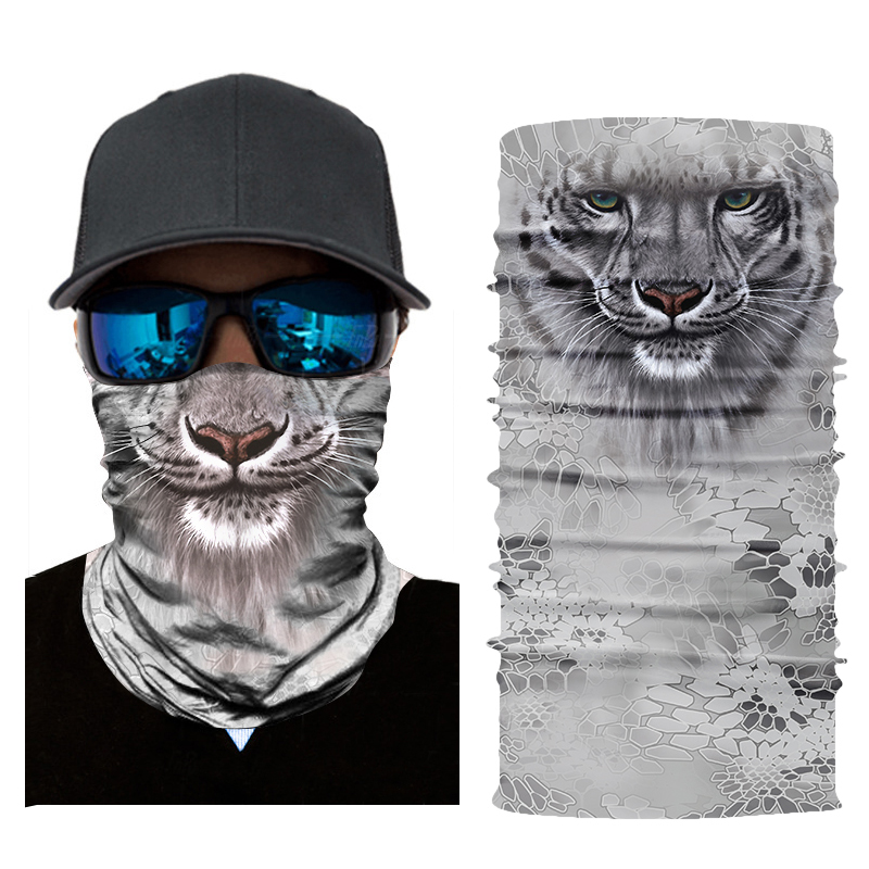Face Mask Women Men 3D Animal Tiger Printed Multi Functional Quick Dry Sunshade Sweatband Hairband Head Scarf Camera Protective