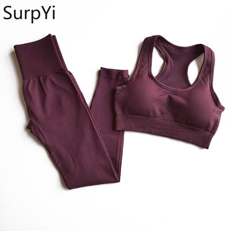 2 шт./компл., женские новые бесшовные комплекты для йоги, спортивные костюмы для фитнеса, дышащая мягкая спортивная одежда, леггинсы для бега,...