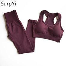 2 Pcs/Set Women New Seamless Yoga Sets Fitness Sports Suits Breathable Soft Gym Clothes Running Leggings Workout Set Vest+Pants