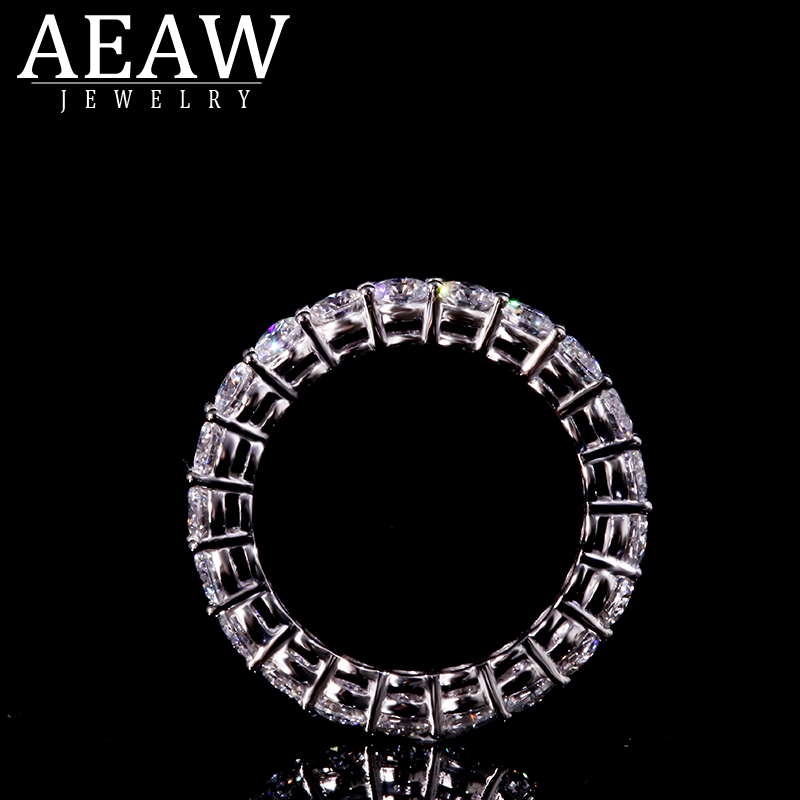 AEAW Solid Silver 925 Luxury 3mm 0.1ct Tatol 2ctw-3ctw Engagement Ring Wedding Moissanite Full Enternity Diamond Band For Women