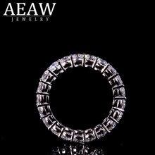 AEAW argent massif 925 luxe 3mm 0.1ct tatol 2ctw-3ctw bague de fiançailles mariage Moissanite pleine entreprise diamant bande pour les femmes