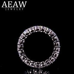 AEAW Solide silber 925 Luxus 3mm 0.1ct tatol 2ctw-3ctw Engagement Ring Hochzeit Moissanite Volle Enternity Diamant Band Für Frauen
