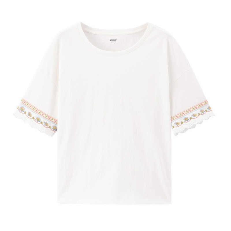 INMAN 2020 봄 신착 문학 코튼 All-match Grilish 수 놓은 스플 라이스 레이스 미디엄 슬리브 티셔츠
