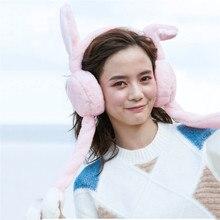 Brand New Winter Female Plush Warm Earmuff Cute Faux Fur Rabbit Ear Design Headband Fashion Pretty Girls Ear protection Earmuff