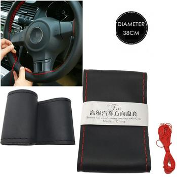 37cm/38CM DIY Steering Wheel Covers Soft Leather Braid On The Steering-wheel Of Car With Needle And Thread Interior Accessories 1pcs 37 38cm diy car auto steering wheel cover suede material car steering wheel cover needle and thread interior accessories