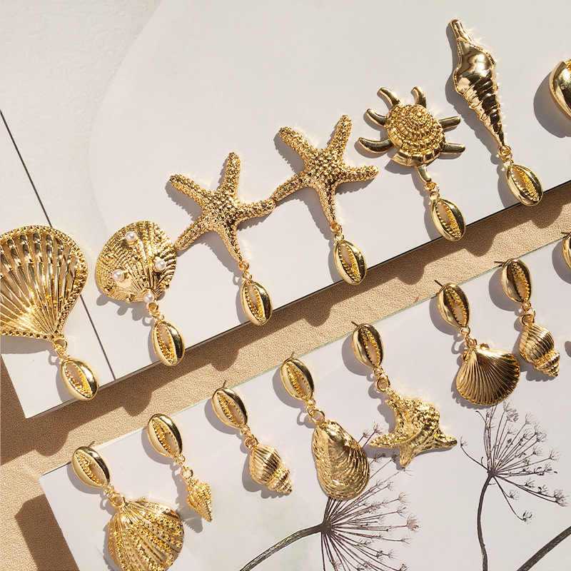 Морские сережки в виде ракушек для Женская металлическая под золото оболочка коври Эффектные серьги 2019 летние пляжные украшения Девушки вечерние подарок дропшиппинг