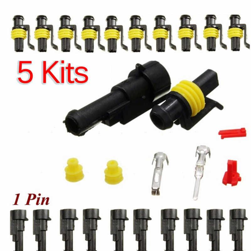 Hot koop 5set Auto Motorfiets 1 Pin Way Verzegelde Waterdichte Elektrische Draad Auto Connector Plug Set voor HID LED licht mistlamp